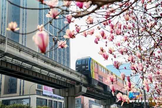 航拍重庆轻轨:开往春天的列车