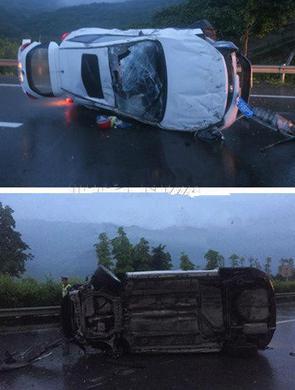 吓人!驾车打瞌睡 车辆高速上侧翻打滚