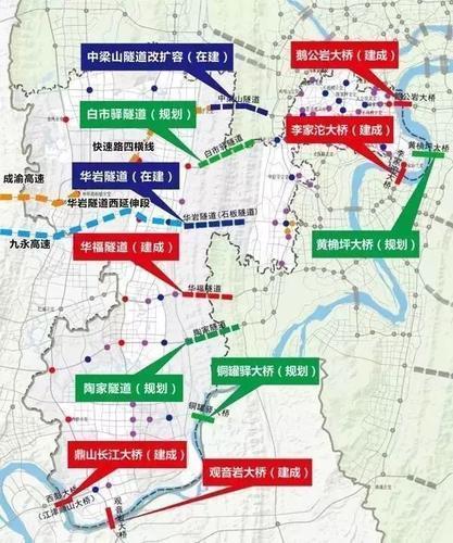 九龙坡区部分大桥隧道建设情况示意图
