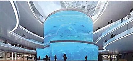 商场内的巨型鱼缸效果图