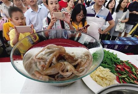 玻璃盘中的章鱼 记者 郑友 摄