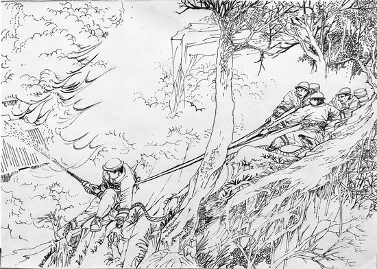 刘潇然用画笔画出了当时的情形