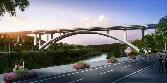 五横线跨御临河大桥效果图。
