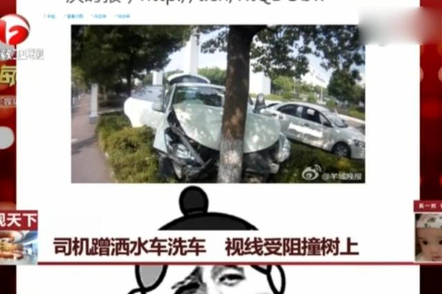 重庆司机蹭洒水车洗车 视线受阻撞树上
