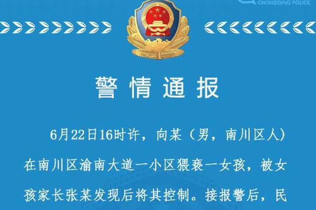 重庆一男子小区内猥亵女孩 被家长发现后将其控制