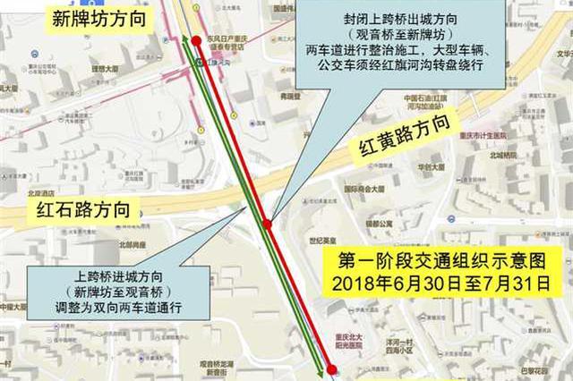 红旗河沟立交上跨桥要大修 封闭部分道路持续2个月