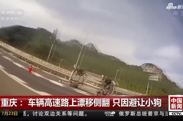 重庆:车辆高速路上漂移侧翻 只因避让小狗