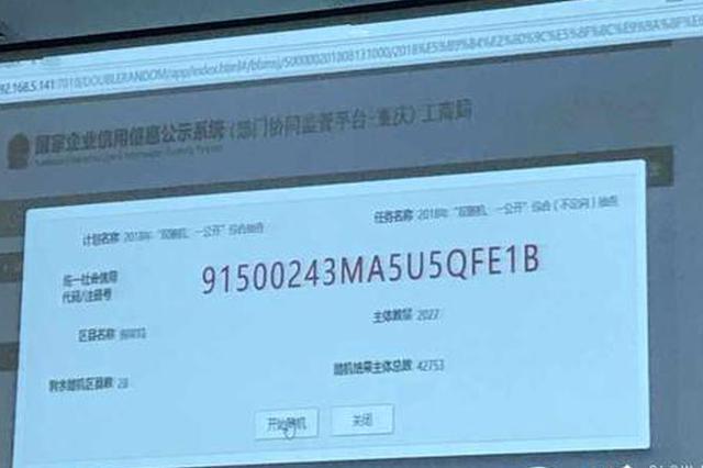 重庆工商今起将对222.34万户市场主体进行抽查