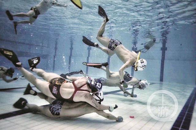 水中体验飞翔感觉 重庆有200多人打起了水下曲棍球