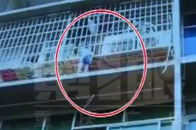 男孩悬空卡在防盗窗上 几个年轻人飞檐走壁去救援