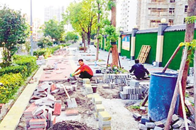 大学城3条人行道提档升级 预计年底完工