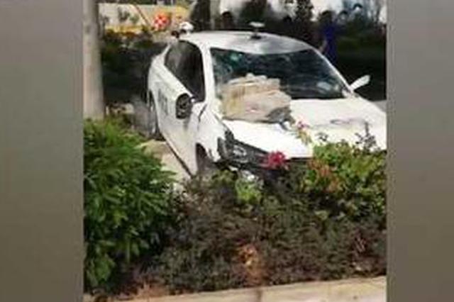 男子考科目二误把油门当刹车 直接撞倒考场围墙