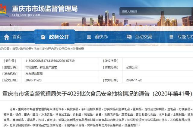 重庆22批次食品抽检不合格 盒马鲜生这个产品中招