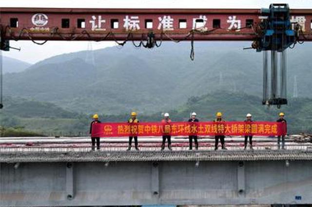 重庆铁路枢纽东环线跨度最长桥梁架设完成