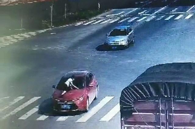 重庆:男子趴引擎盖被顶行数公里 驾驶员竟是他女友