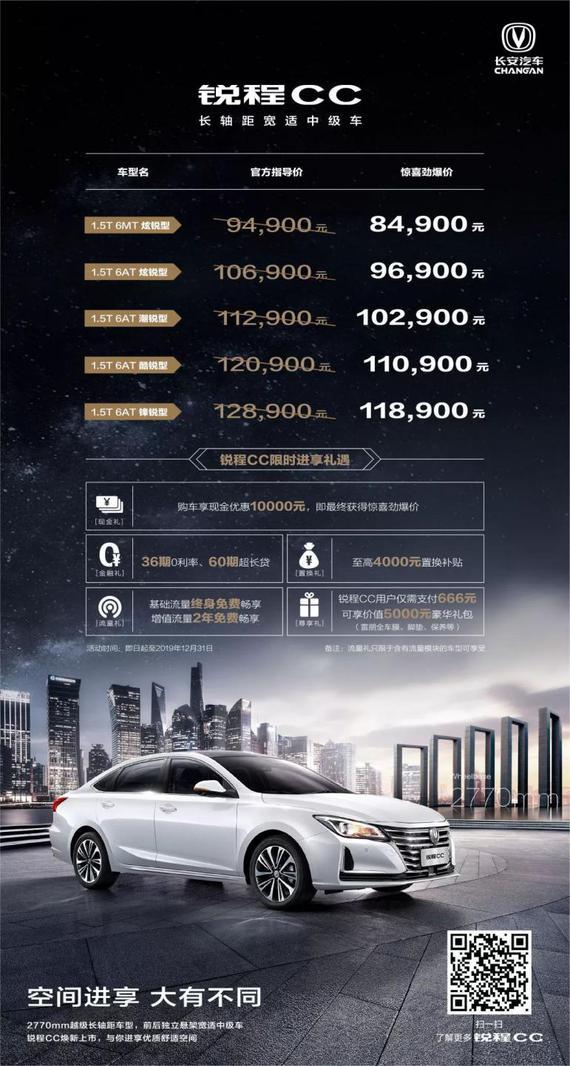长安锐程CC车谷到店实拍 售8.49万元起