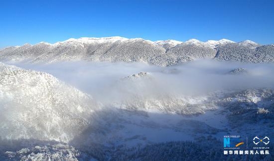 无人机航拍重庆雪后红池坝 群山覆雪云雾笼罩(图)