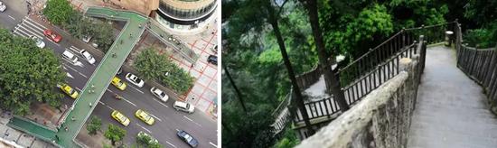 左图为天陈路天桥、右图为歌乐山绿色步道