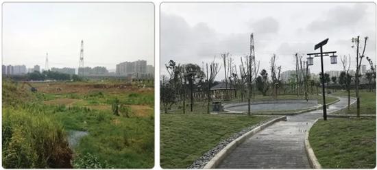 丰文街道绣美丰文社区公园建设前后对比