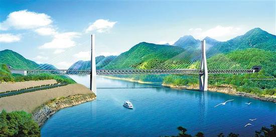 明月峡长江大桥效果图。