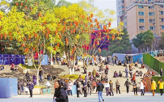 1月10日,在渝中区解放碑国泰广场,众多市民在阳光下晒太阳。当日,我市主城天气晴朗,阳光明媚。记者 熊明 摄