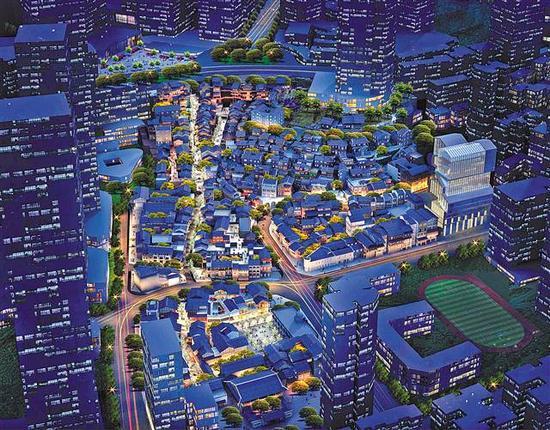 十八梯风貌区夜景效果图。