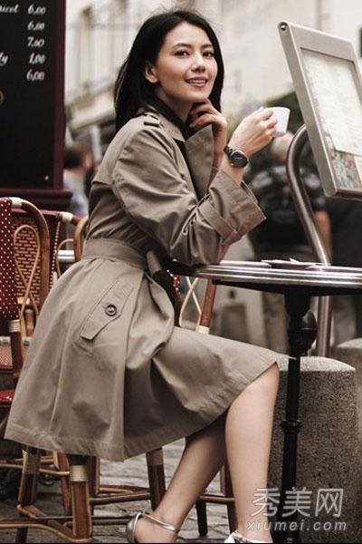 高圆圆私服街拍 示范各种外套搭配图片