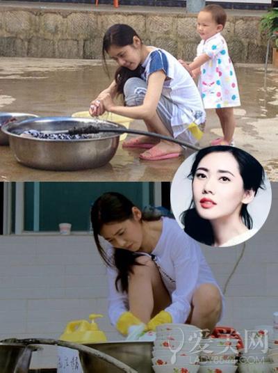 张柏芝素颜干农活 扒女星村姑造型