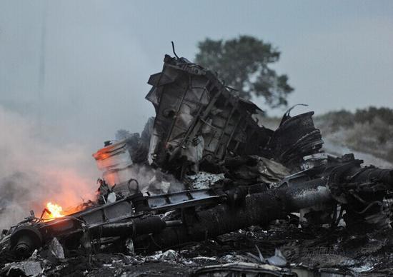 马航客机被击落坠毁现场。