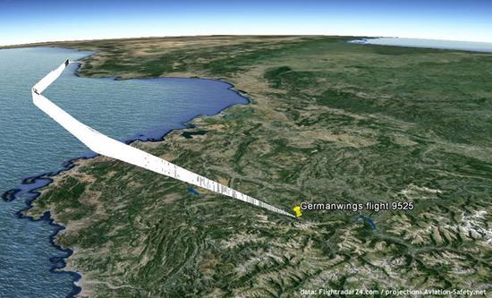 图3.从4U9525航班最后的飞行轨迹上看,虽然其高度降得非常快,但机内人员直到最后才明白自己要撞山了