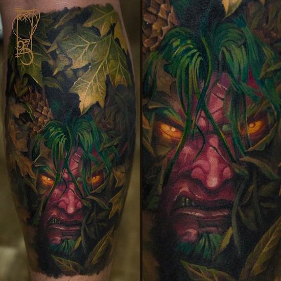 魔兽世界主题人体彩绘 腿毛丛林藏身的玛法里奥