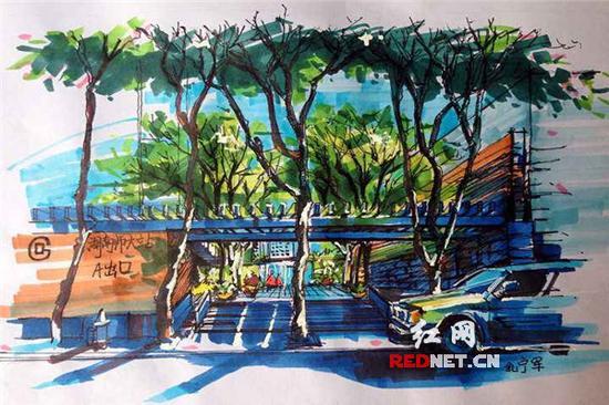 湖南师大学生手绘学校地铁出入口设计图