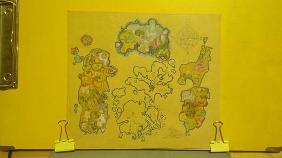 魔兽玩家彩铅手绘艾泽拉斯地图:两个世界的旅行