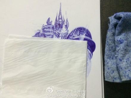 大触魔兽玩家圆珠笔手绘:霸气外漏的阿尔萨斯
