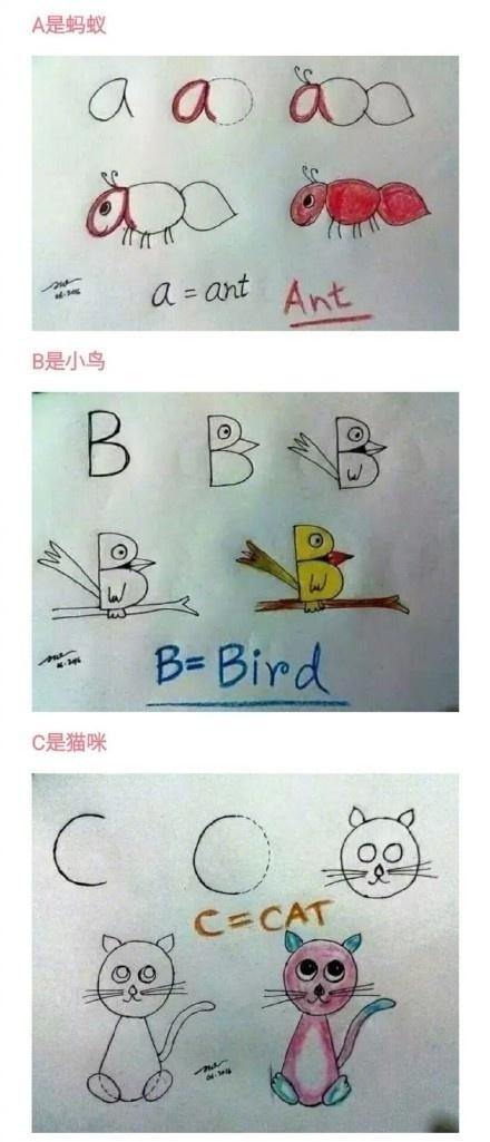 教宝宝学英语 字母变身简笔画