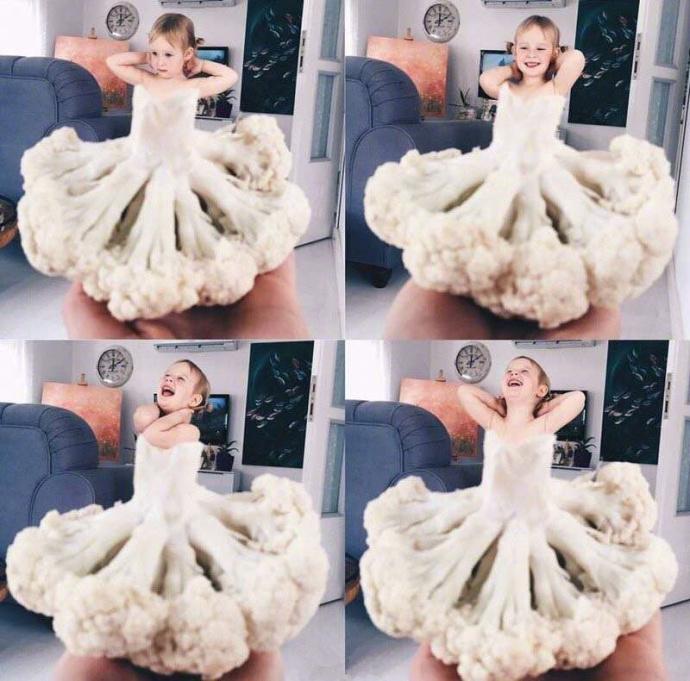 国外有一位网友把自己的女儿当模特 而服装就是蔬菜