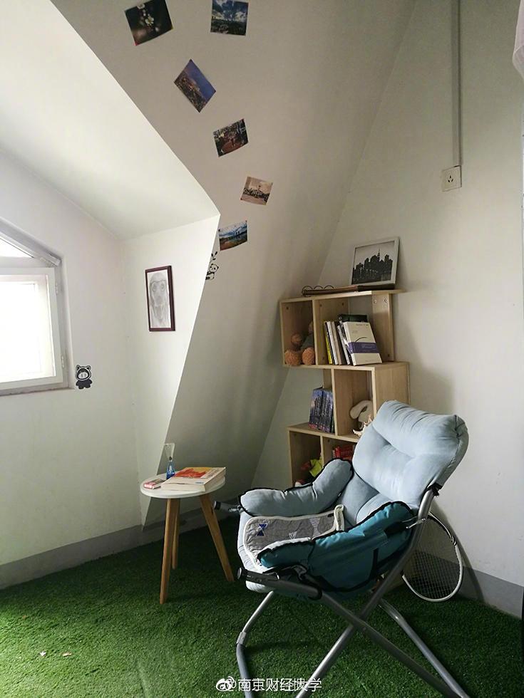 绵绵的草坪,充满设计感的书架……难以想象这是4个19岁男生的寝室.图片