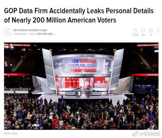 共和党数据库泄露 美国2亿选民个人信息曝光