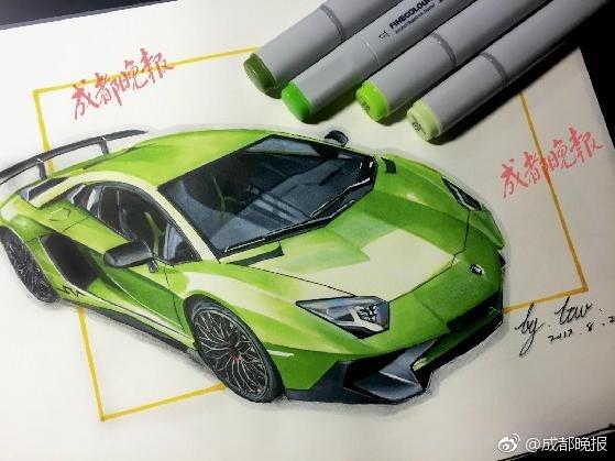 成都一高校学生马克笔手绘汽车 栩栩如生堪比