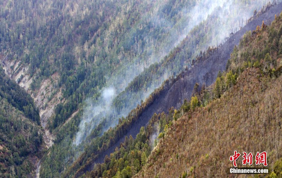 四川木里森林大火灾后画面 过火山林如遭剃头