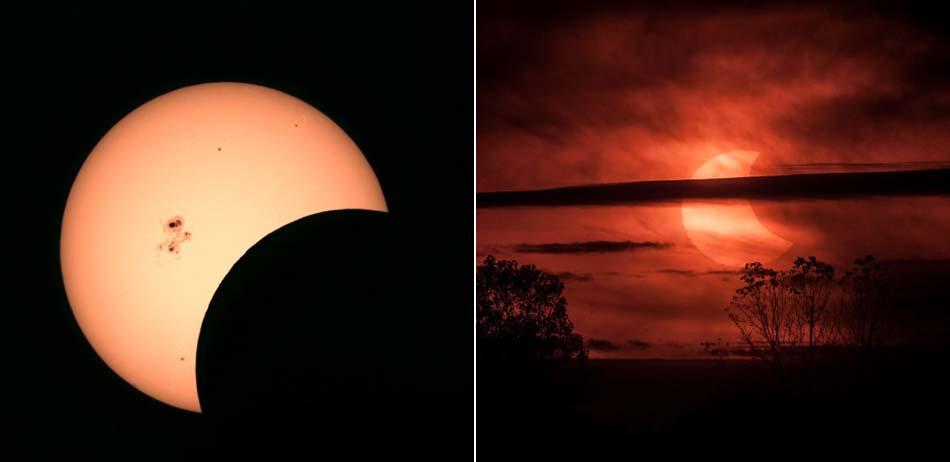 北美地区上演日偏食:巨型黑子清晰可见