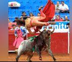 女斗牛士遭公牛两次顶伤
