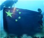 日本沉船被插上中国国旗