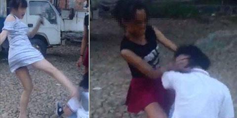 17岁孕妇暴打女生狂扇耳光图片