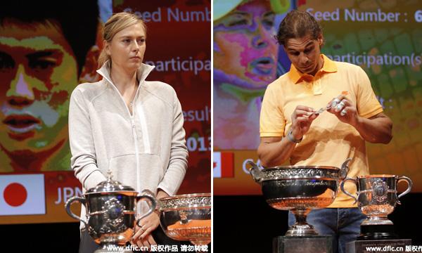 高清-卫冕冠军纳达尔莎娃出席法网抽签仪式