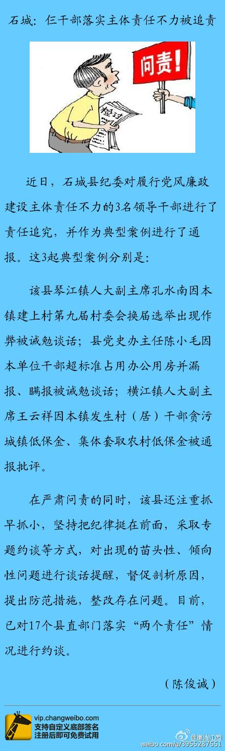 石城:仨干部落实主体责任不力被追责