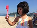姐姐Joe海滩玩耍晒黑