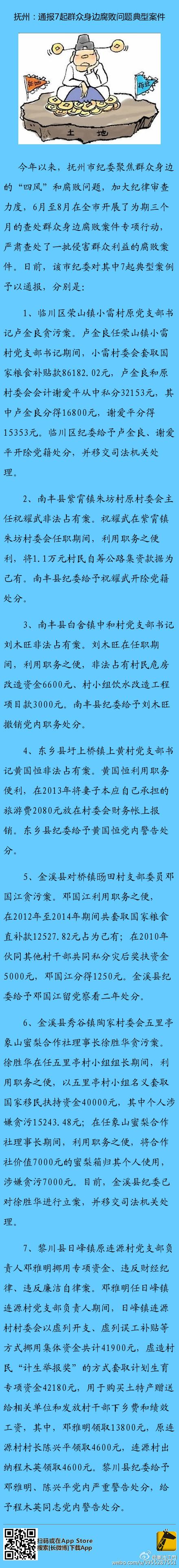 抚州通报7起腐败案件 南丰一村主任私占集资款