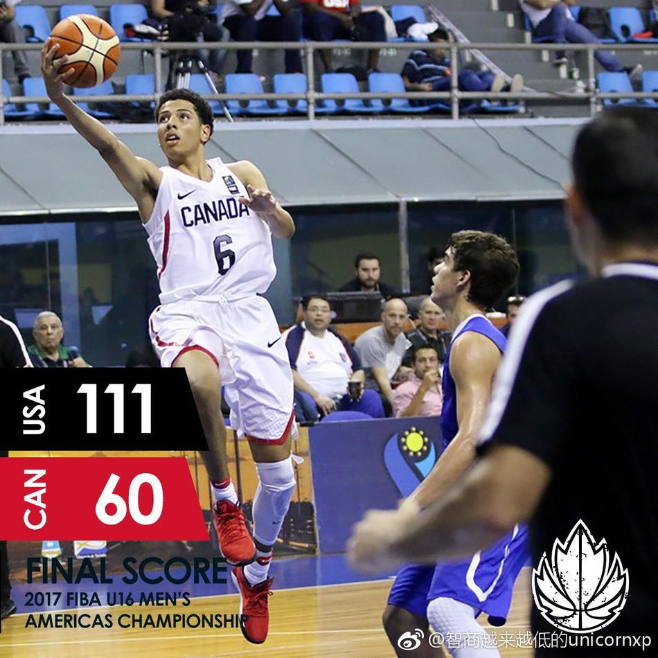 美国u16男篮狂胜加拿大获世青赛资格