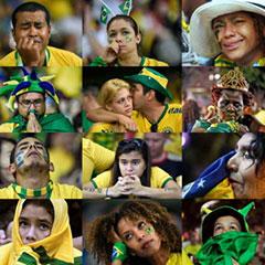 巴西球迷看台眼泪横飞